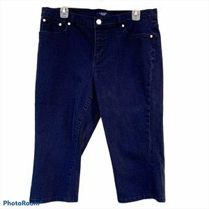 Chaps Dark Wash Denim Capri Pants size 14P